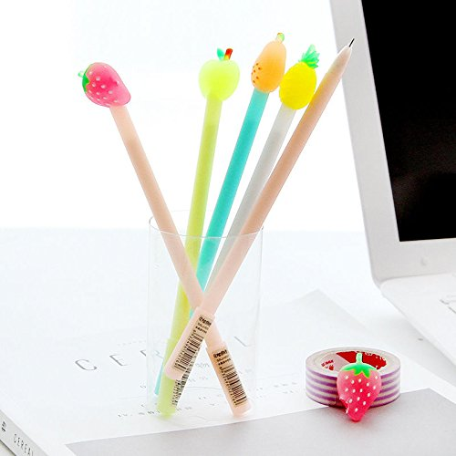 2pcs Cute Fruit Students Lovely Black Gel Ink Roller Ball Point Pen (Day Platinum Roller Ball)