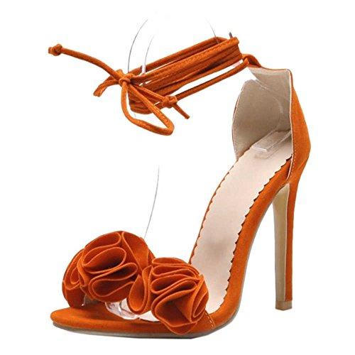Sandalen Stiletto mit Blumen Sandalen Orange mit SJJH schönen Abendpartys für Kreuzgurt und schönen Blumen UAqA6pf