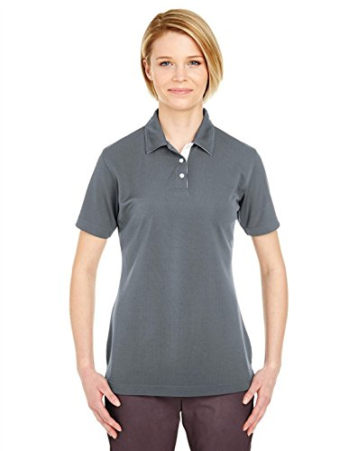 UltraClub 8325L Ladies Platinum Performance Birdseye Polo With TempControl Technology Charcoal Large -