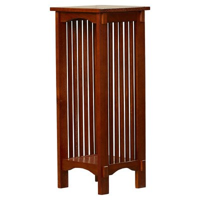 Plant Stand Square 2 Tier Shelf Traditional Wood Flower H...
