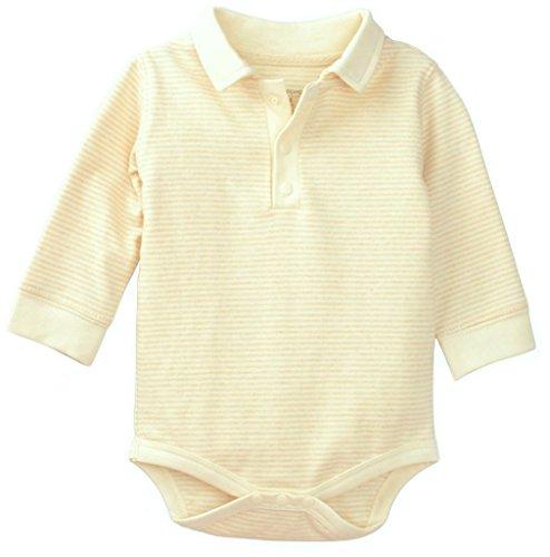 Organic Cotton Baby Boy Bodysuit Onesie Outfit, All Natural Dye-Free, Brown Stripe 6-9M