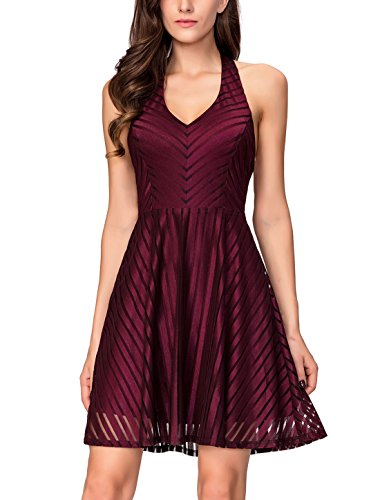 InsNova Women's Striped Halter V Neck Fit Flare Cocktail Homecoming Party Dress