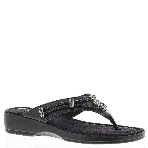 Minnetonka Silverthorne Thong Women's Sandal 8 2A(N) US Black-Black
