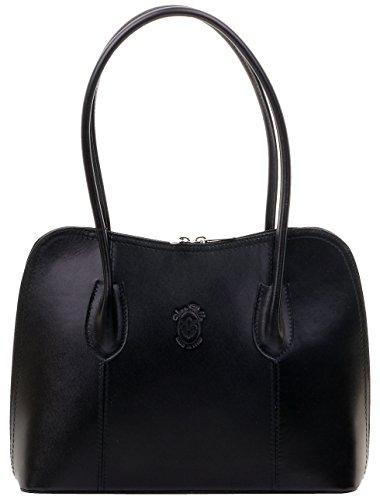 (Primo Sacchi Italian Smooth Black Leather Classic Long Handled Handbag Tote Grab Bag Shoulder Bag)