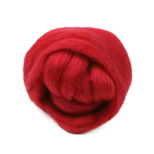 Raylans 50g Wool Top Roving Needlefelting Dyed Spinning Wet Felting Red