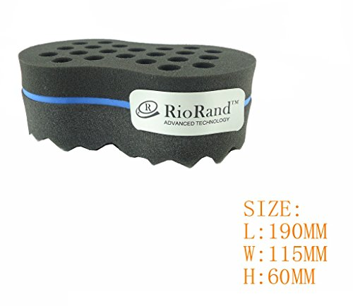 RioRand® Magic Twist Hair Sponge,Barber Sponge Brush 2 in 1,10 & 16 mm Hole diamete(Dimension: 190*115*65 mm)