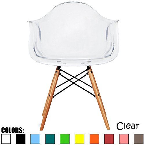 2xhome Mid Century Modern Dining Arm Chair with Natural Wood Legs, Clear (Chair Ghost Yellow)