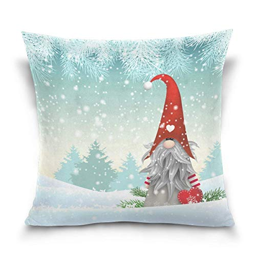 Double Sided Lovely Sprite Christmas Gnome Standing in Snowfall Winter Cotton Velvet Square Cover Cushion Covers 18 x 18 Inch Pillow Slip Covers Decorative