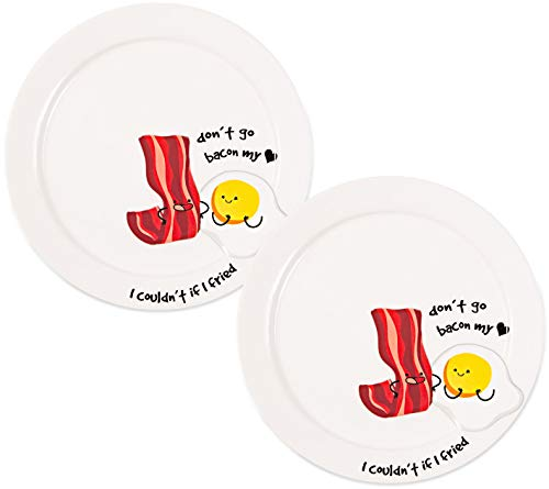 Hearts Breakfast Set - Pavilion - Don't Go Bacon My Heart, I Couldn't If I Fried - 7.25 Inch Bacon & Eggs Set Of 2 Ceramic Breakfast Plates