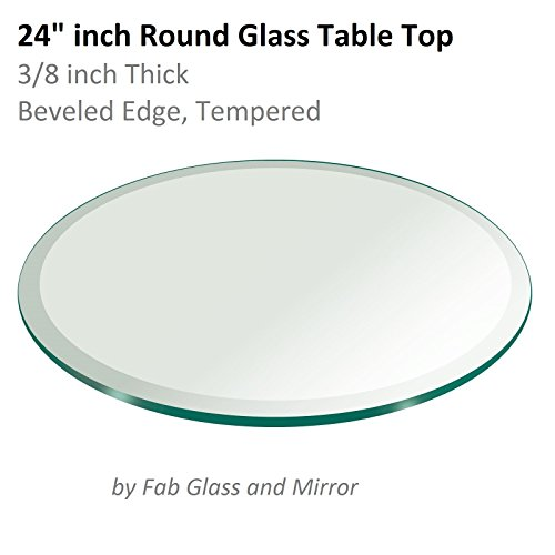 "24"" Inch Round Glass Table Top 3/8"" Thick Tempered Beveled E"