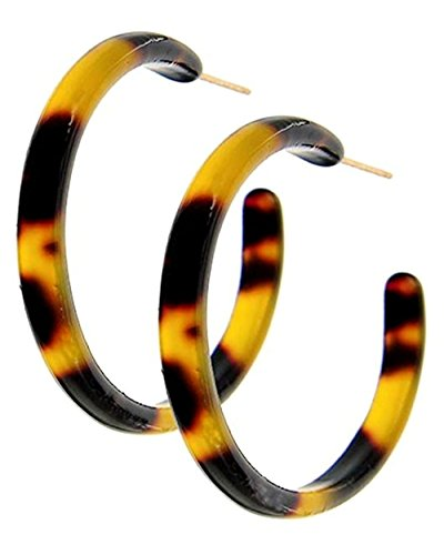 Tortoise Shell Hoop Earrings Brown Jewelry 1 3/8