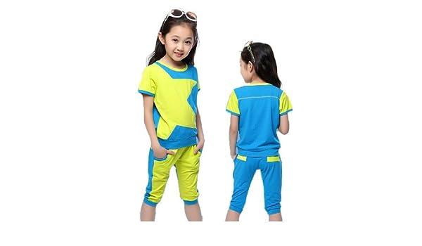 SOPO Toddler Girl Summer Outfits Star 2 pcs Sport Set Blue 6t