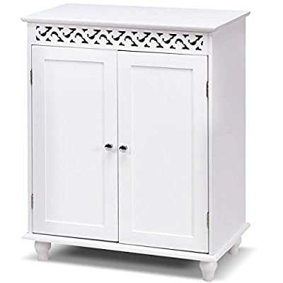 Tangkula Floor Cabinet Bathroom Wooden Storage Cabinet Living Room Modern Home Furniture Free Standing Storage Cabinet Side Organizer with Drawers(White)