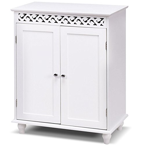 Tangkula Floor Cabinet Bathroom Wooden Storage Cabinet Living Room Modern Home Furniture Free Standing Storage Cabinet Side Organizer with Drawers(White) (2 Shelves) by TANGKULA