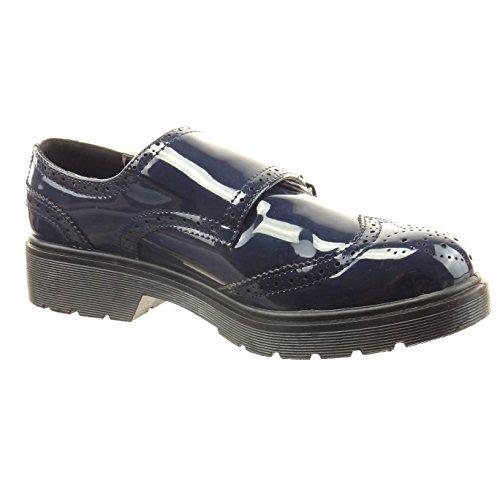 Sopily - Scarpe da Moda scarpa derby alla caviglia donna finitura cuciture impunture verniciato fibbia Tacco a blocco 3 CM - Blu