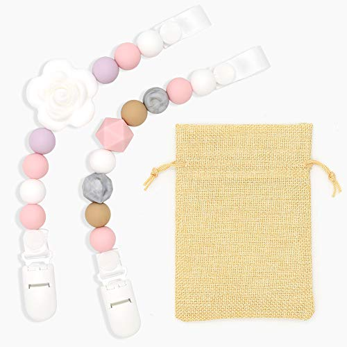 Clan-X Pacifier Clip Silicone Teething Beads for Girls& Boys -2 Packs - Baby Universal Teething Chain &Soothie Leash for All Style Pacifiers (Pink & White)
