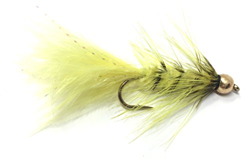 Bead Head Wooly Bugger Yellow with Flash Fly Fishing Flies for Trout and Other Freshwater Fish - One Dozen Wet Flies - 4 Size Assortment 6, 8, 10, 12 (3 of Each Size) (Yellow)
