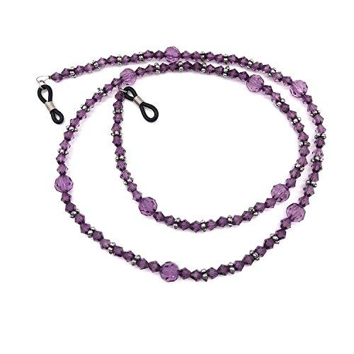 Purple Acrylic Beaded Eyeglass Chain Sunglasses Holder Necklace Eyewear - Glasses Unusual Reading