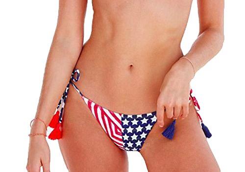 Victoria's Secret Women's Teeny Bikini Bottom Stars and Stripes (Red, White, Blue USA Flag) Size Medium Victoria Swim Bottom