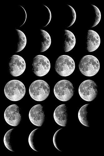 MOON PHASES GLOSSY POSTER PICTURE PHOTO full half crescent s