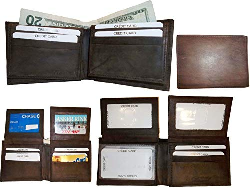 New Leather Lot Wallet Bi ID 2 12 Billfold Wallet Cards Brown Men's Br 4 fold of w7vEgxgqO