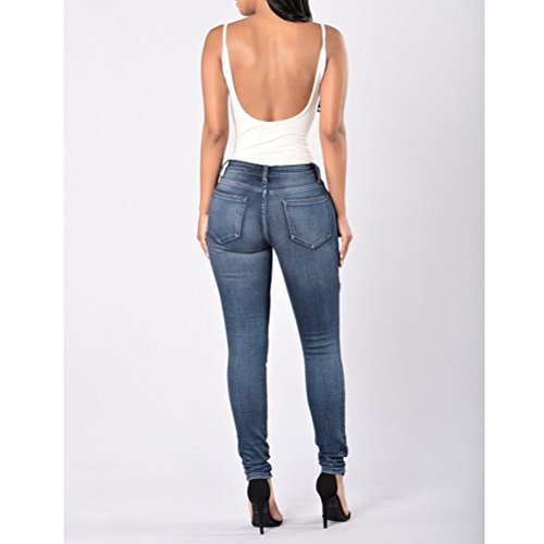 Holes Blue Pants Fashion Dark Trousers Donna Zhhlaixing Stretch Jeans Cotton Ladies Denim Slim 7wAnnTtx