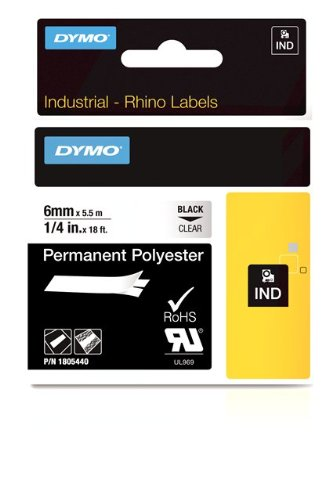 Dymo Rhino Tape Perm Poly Label Cassette, 1/4-Inch 6mm, Clear (1805440) Newell Rubbermaid Office
