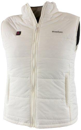Heated Nylon Vest - VentureHeat Women's Battery Heated Nylon Vest (White, Medium)