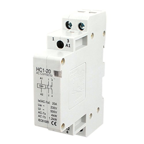 Baomain AC Contactor HC1-20 110V 20A 2 Pole Universal Circuit Control DIN Rail Mount (Two Pole 20a)