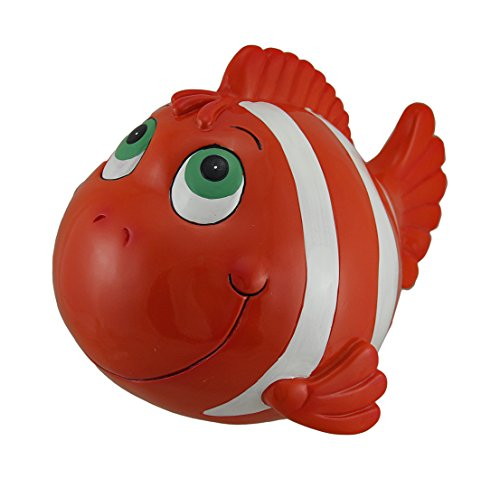 Zeckos Orange and White Funny Clown Fish Coin Bank