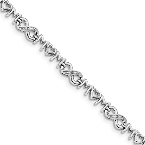 925 Sterling Silver Heart Mom Infinity Diamond Bracelet 7.5 Inch Fine Jewelry Gifts For Women For ()