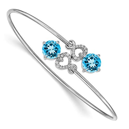 (Jewels By Lux 14k White Gold Blue Topaz Flexible Bangle Bracelet)