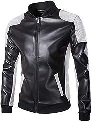 Jade Hare Men's Baseball Collar Breathable Mesh Black White Patchwork PU Leather Jacket Coat Motorc
