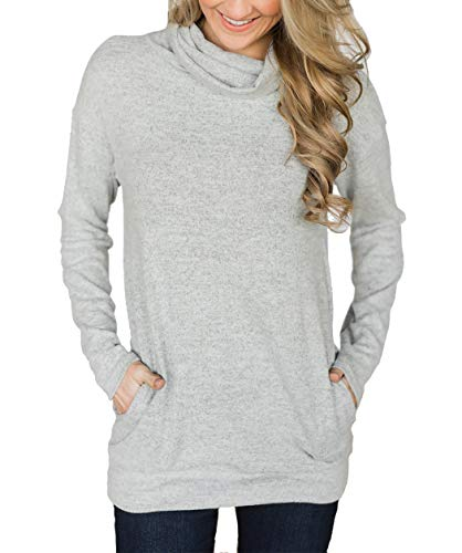 Hount Ladies Long Sleeve Pullover Tunic Sweatshirt with Pockets Casual Cowl Neck Top (XX-Large, Grey)