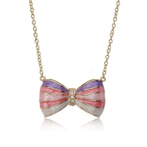 Little Miss Twin Stars Bow Beautiful 14k Gold-Plated Marbleized Denim, Lavender, Pink & White Stripe Bow Chain Necklace CZ Stripe Center 16