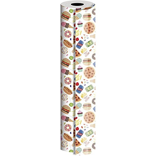 JAM Paper® Industrial Size Bulk Wrapping Paper Rolls - Junk Food Design - 1/4 Ream (416 Sq Ft) - Sold Individually by JAM Paper