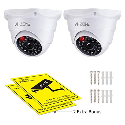 Fake Security Camera, with Realistic Look Dummy Camera Recording Lighting Red LED Light,for Home and Businesses Security Indoor/Outdoor (2 Pack, White, 2Warning Sticker)