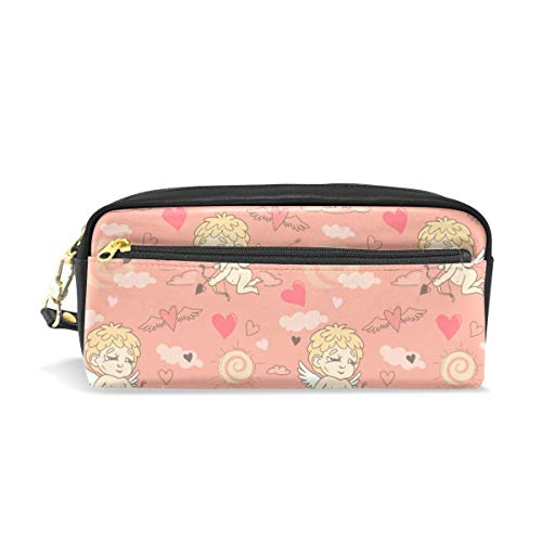 TFONE Valentine's Day Cupid Love Heart Pencil Case Multifunction Large Capacity with Zipper Leather Pen Pouch Makeup Cosmetic Bag Purse Storage Bag