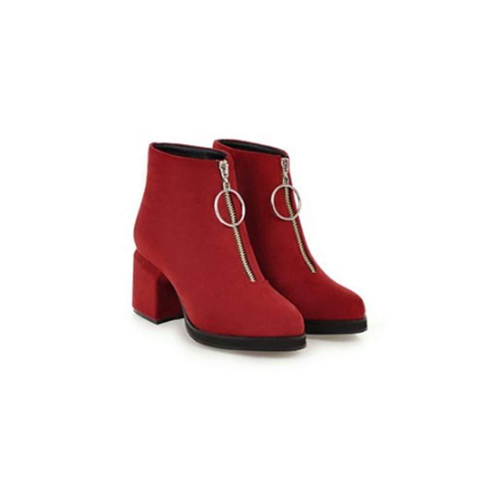 FMWLST Stiefel Stiefeletten Frauen High Heels Einfarbig High Heels Frühjahr Und Herbst Damen Stiefel