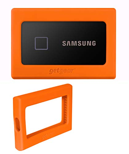 getgear Silicone Bumper for Samsung T7. T7 Touch Portable SSD - 1TB, 2TB, 500GB, USB 3.2, Strong-Shock Absorbing, Slip-Resistant- Black (Orange)