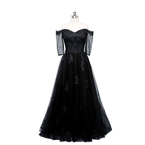 Beauty-Emily Evening Party Dresses Off Shoulder Floor Length Simple Prom Dress Black, Size US 20 Plus Size