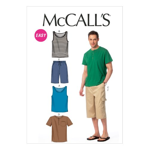 McCall Pattern Company M6973 Men's Tank Tops, T-Shirts and Shorts, Size XM