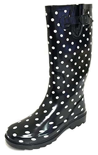- G4U Women's Rain Boots Multiple Styles Color Mid Calf Wellies Buckle Fashion Rubber Knee High Snow Shoes (8 B(M) US, Black Polka Dots)