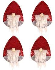 Amosfun 4 stuks kerst tafelzilver houders tassen dwerge Zweedse Santa Tomte Kerstmis bestekhouder sokken (rode hoed)