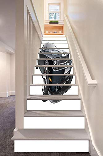 anselc05ls Cars 3D Stair Riser Stickers Removable Wall Murals Stickers,Black Modern Pony Car with White Racing Stripes Coupe Motorized Sport Dragster,for Home Decor 39.3
