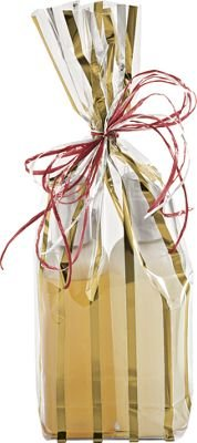 Patterned Cello Bags - Gold Stripes Clear Flat Bottom Propylene Bags (100 Bags) - BOWS-691-0512-15 by Deluxe Corporation