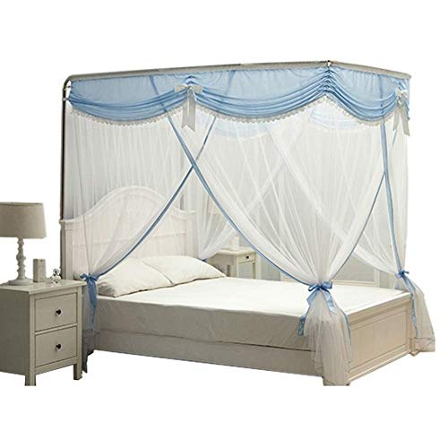 YXNZ Lace Mosquito Net Three-Door Single Double Encryption Thickening Princess Style Stainless Steel Bracket Classic Romantic Bedroom Bed Canopy (Color : Blue, Size : 4 ft Bed)