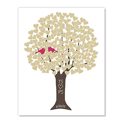 Customized Gift: Golden Anniversary Tree Art Print with Monogram, Wedding Date, Your Choice of Colors -