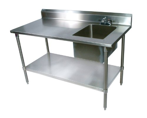 John Boos EPT6R5-3060GSK-R Stainless Steel Prep Table with Sink Bowl, Galvanized Undershelf, 60 Length x 30 Width, Right Hand Side