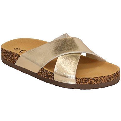 Ladies Slippers Womens Sliders Mule Sandals Slip On Flat Flip Flops Open Toe New Gold - 2004 edBnC